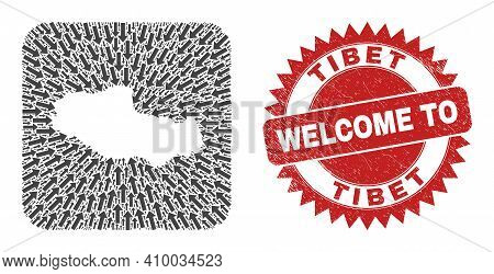 Vector Collage Tibet Map Of Direction Arrows And Rubber Welcome Seal Stamp. Mosaic Geographic Tibet