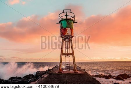 Jetty And Lighthouse In Saint Pierre, La Reunion Island, Indian Ocean, April 26, 2016,  Saint Pierre
