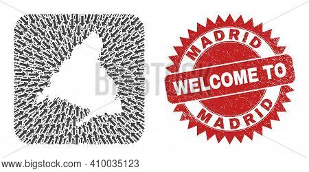 Vector Mosaic Madrid Province Map Of Direction Arrows And Grunge Welcome Seal Stamp. Collage Geograp