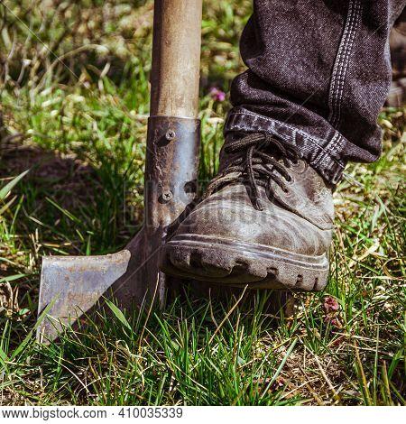 Close-up, Shallow Dof. Digging Spring Soil With Shovel