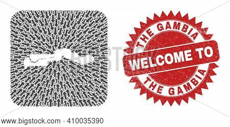 Vector Mosaic The Gambia Map Of Immigration Arrows And Scratched Welcome Seal Stamp. Mosaic Geograph