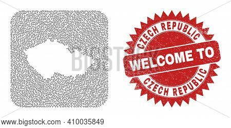 Vector Mosaic Czech Republic Map Of Navigation Arrows And Rubber Welcome Stamp. Mosaic Geographic Cz