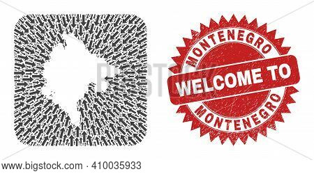 Vector Collage Montenegro Map Of Movement Arrows And Rubber Welcome Seal Stamp. Collage Geographic M