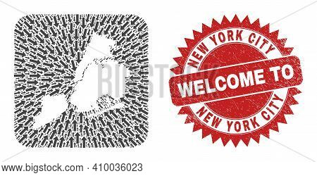 Vector Collage New York City Map Of Straight Arrows And Rubber Welcome Badge. Mosaic Geographic New