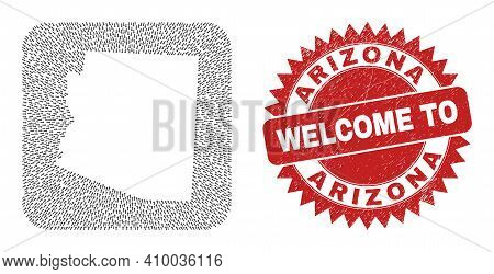 Vector Collage Arizona State Map Of Motion Arrows And Rubber Welcome Stamp. Collage Geographic Arizo