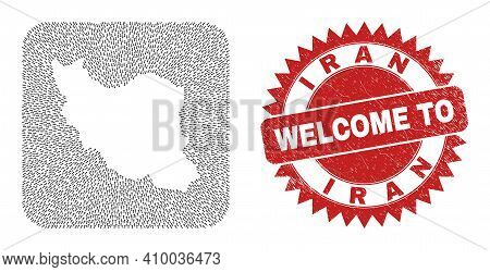 Vector Collage Iran Map Of Straight Arrows And Grunge Welcome Seal. Mosaic Geographic Iran Map Creat