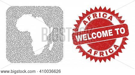 Vector Collage Africa Map Of Motion Arrows And Rubber Welcome Seal Stamp. Collage Geographic Africa