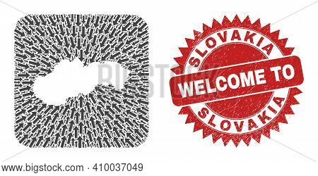 Vector Collage Slovakia Map Of Movement Arrows And Rubber Welcome Seal. Collage Geographic Slovakia