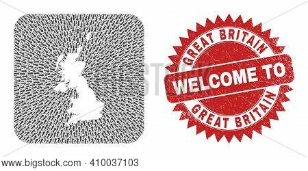 Vector Mosaic United Kingdom Map Of Delivery Arrows And Scratched Welcome Stamp. Mosaic Geographic U