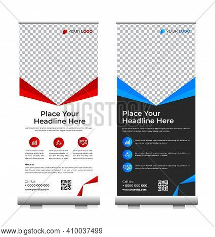 Business Roll Up. Standee Design. Banner Template.  Business, Advertising, Presentation. Template Of