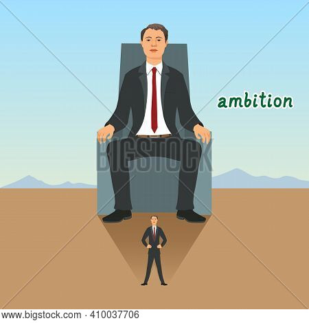 Businessman Feels Himself Sitting On The Throne And Having Achieved Success. Symbol Of Ambition, Lea