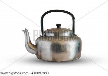 Aluminum Tea Pot Kettle Stove Top Isolated On White Background.
