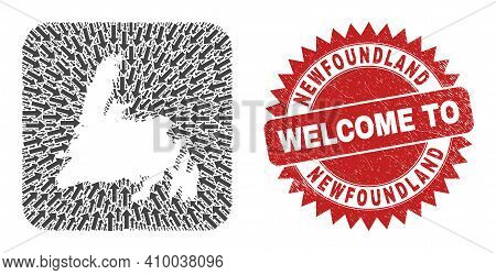 Vector Mosaic Newfoundland Island Map Of Pointer Arrows And Rubber Welcome Seal Stamp. Mosaic Geogra