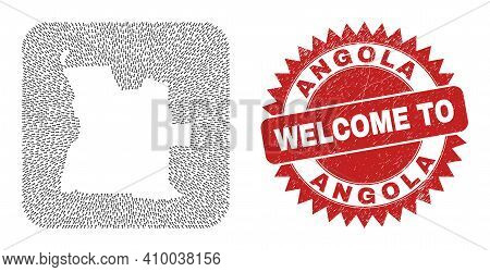 Vector Collage Angola Map Of Straight Arrows And Rubber Welcome Seal. Collage Geographic Angola Map