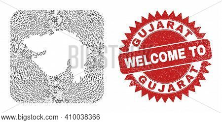 Vector Collage Gujarat State Map Of Delivery Arrows And Rubber Welcome Seal Stamp. Collage Geographi
