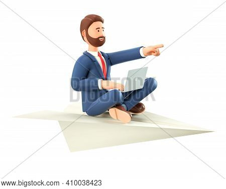 3d Illustration Of Bearded Creative Man With Laptop Flying On A Huge Paper Airplane. Cartoon Smiling