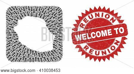 Vector Collage Reunion Island Map Of Migration Arrows And Scratched Welcome Badge. Collage Geographi