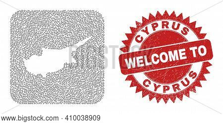 Vector Mosaic Cyprus Map Of Moving Arrows And Grunge Welcome Stamp. Mosaic Geographic Cyprus Map Con