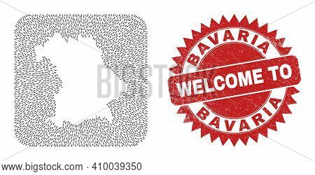 Vector Collage Bavaria Land Map Of Delivery Arrows And Scratched Welcome Seal Stamp. Collage Geograp