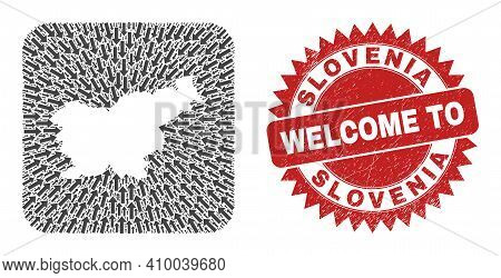 Vector Collage Slovenia Map Of Navigation Arrows And Rubber Welcome Seal Stamp. Collage Geographic S
