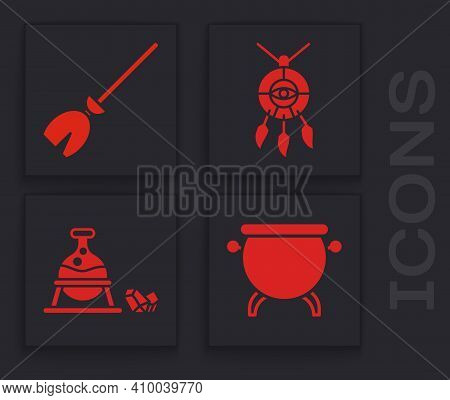 Set Witch Cauldron, Witches Broom, Dream Catcher With Feathers And Witch Cauldron And Magic Stone Ic