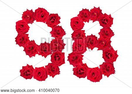 Numeral 98 Made Of Red Roses On A White Isolated Background. Red Roses. Element For Decoration. Nine