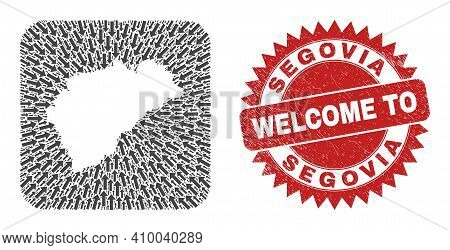 Vector Mosaic Segovia Province Map Of Movement Arrows And Rubber Welcome Badge. Mosaic Geographic Se