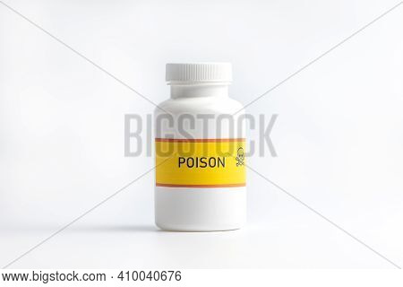 Bottle With Poison Beginner On A White Background. Chemical Weapons Concept Newbie.