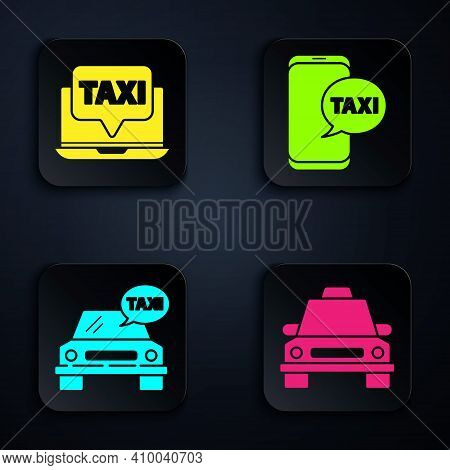 Set Taxi Car, Laptop Call Taxi Service, Taxi Car And Taxi Call Telephone Service. Black Square Butto
