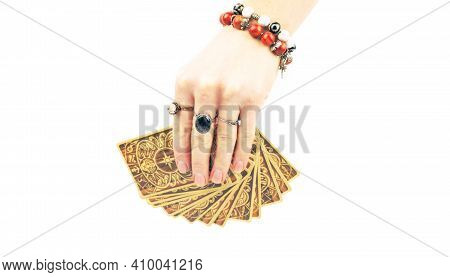 Female Hands Of Fortune-tellers, Fortune-telling Cards, On White Background