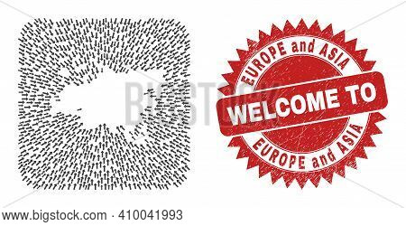 Vector Collage Europe And Asia Map Of Delivery Arrows And Rubber Welcome Seal Stamp. Collage Geograp