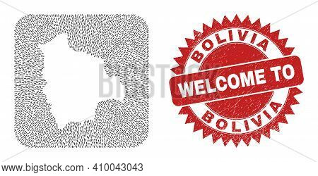 Vector Collage Bolivia Map Of Immigration Arrows And Rubber Welcome Seal Stamp. Collage Geographic B