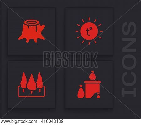 Set Full Dustbin, Tree Stump, Sun And Forest Icon. Vector