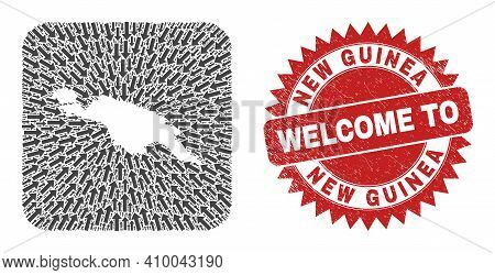 Vector Mosaic New Guinea Map Of Pointer Arrows And Scratched Welcome Seal. Mosaic Geographic New Gui