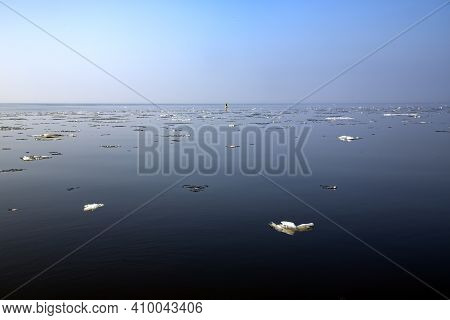 Panorama Of Winter Baltic Sea With Snow And Ice In Riga, Latvia. Baltics In Winter.