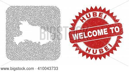 Vector Collage Hubei Province Map Of Moving Arrows And Rubber Welcome Seal. Collage Geographic Hubei
