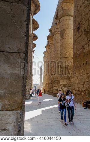 Karnak Temple.luxor, Egypt - February 07, 2021: Luxor Temple In Luxor, Ancient Thebes, Egypt. Luxor