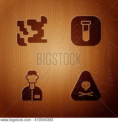Set Triangle Warning Toxic, Gaseous, Laboratory Assistant And Test Tube And Flask On Wooden Backgrou