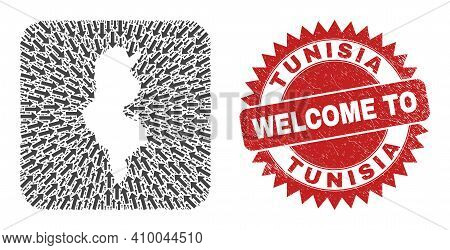 Vector Mosaic Tunisia Map Of Direction Arrows And Grunge Welcome Badge. Collage Geographic Tunisia M