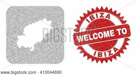 Vector Mosaic Ibiza Island Map Of Navigation Arrows And Grunge Welcome Stamp. Mosaic Geographic Ibiz
