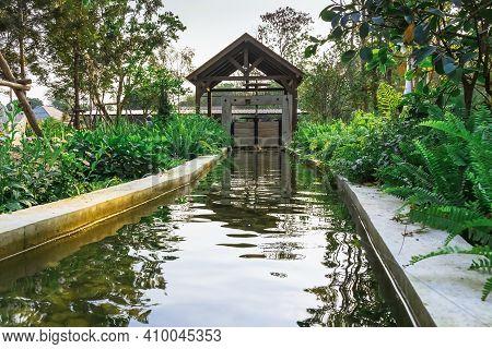 Kanchanaburi,thailand - February 19, 2021 : Beautiful Garden Decoration Of Cafe Amazon Coffee Shop A