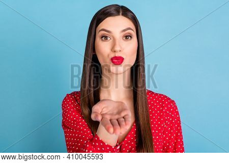 Portrait Of Attractive Amorous Girl Sending You Air Kiss Coquette Isolated Over Vibrant Blue Color B