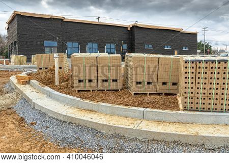 Horizontal Shot Of The Bricks For A Construction Project At A Commercial Site.
