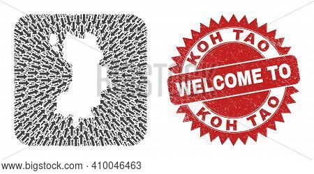 Vector Mosaic Koh Tao Map Of Immigration Arrows And Rubber Welcome Badge. Mosaic Geographic Koh Tao