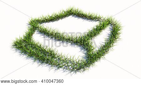 Concept or conceptual green summer lawn grass symbol shape isolated white background, sign of closed book. A 3d illustration metaphor for learning, education, research, scienc, literature and culture
