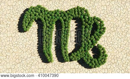 Concept or conceptual group of green forest tree on dry ground background as sign of virgo zodiac sign. A 3d illustration symbol for  esoteric, the mystic, the power of prediction of astrology