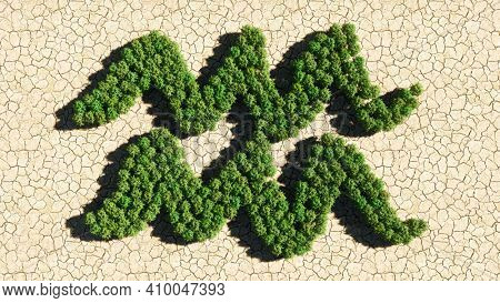 Concept or conceptual group of green forest tree on dry ground background as sign of aquarius zodiac sign. A 3d illustration symbol for  esoteric, the mystic, the power of prediction of astrology