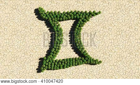 Concept or conceptual group of green forest tree on dry ground background as sign of gemini zodiac sign. A 3d illustration symbol for  esoteric, the mystic, the power of prediction of astrology