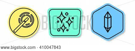 Set Line Magic Wand, Sparkle Stars With Magical Glitter And Magic Stone. Colored Shapes. Vector