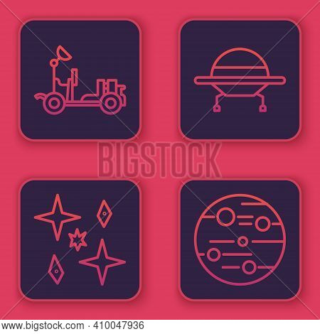 Set Line Mars Rover, Planet, Ufo Flying Spaceship And Planet Mars. Blue Square Button. Vector